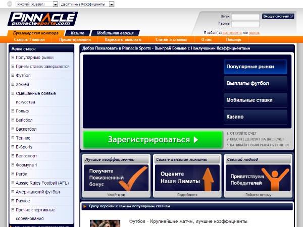 Pinnacle букмекерская контора сайт